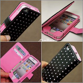 Pink Dot Wallet Leather Card Holder Pouch Case Cover For iPhone 4#C