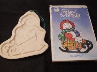 Longaberger Cookie Mold Sleigh Belle w Box Snow Friend Snowman Sled
