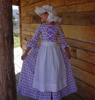 NEW Handmade Historical Costume Colonial Girl Dress ~Purple Day Dress