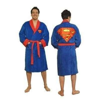 SUPERMAN Cotton Terry Cloth Bath Robe Blue/Red