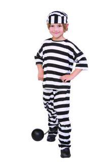 CHILD PRISONER CONVICT BOY COSTUMES JAILBIRD BLACK WHITE STRIPES KIDS