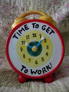 GLASS COOKIE JAR   CLOCK (TIME TO GET TO WORK)  NEW