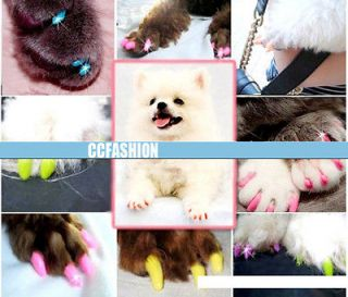 20 pcs Soft Pet Dog Cat Kitten Paw Claw Nail Caps Covers With Glue S