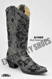 Womens Leather Cowboy Western Boots Black Crater Sequin Inlay A1065