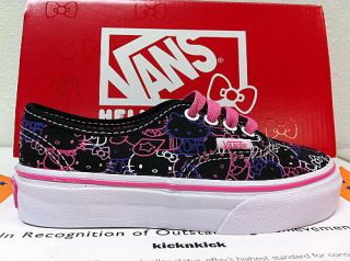 Vans Hello Kitty Authentic Shoes Kids Black Pssn Flwr VN 0OKN66Y Sz
