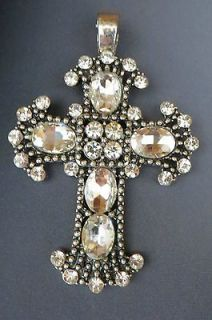 COWGIRL Bling CROSS Pendant silvertone Christian RHINESTONES Magnetic