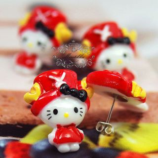 PAIR CUTE FUNKY HELLO KITTY CAT ONE PIECE CHOPPER COSTUME DEER STUD