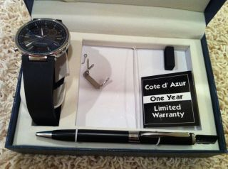 COTE DAZUR MENS WRISTWATCH AND PEN GIFT SET