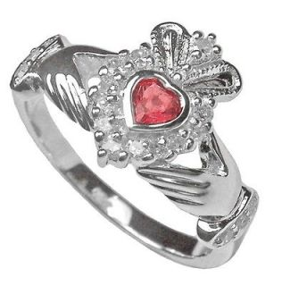 Newly listed Silver Ruby Claddagh Celtic Ring Irish Made sz 7 6 8 5 9