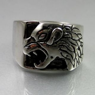 Newly listed Biker Mens Black Silver Bold Stainless Steel Wild Wolf