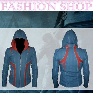 HOT Mens Assassins Creed III 3 Kenway Hoodie Jacket Top Coat Cosplay