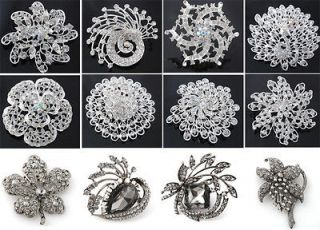White Alloy Vintage Crystal Rhinestone Wedding Party Brooch Pin JX001
