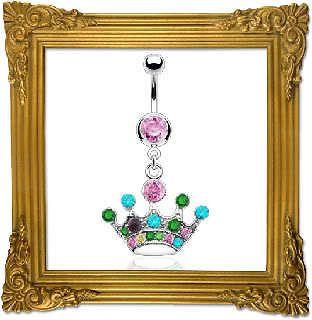 Princess Crown Belly Ring Multi Color Jewels CUTE Tiara