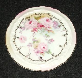 Vintage Royal Crown Chantilly Rose Hand Painted Hot Plate 55/1947