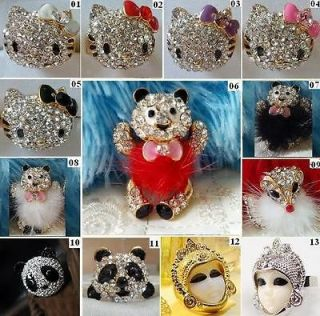 Gorgeous Crystal Diamond Ring, Hello Kitty, Panda, Bear, Fox, Egypt