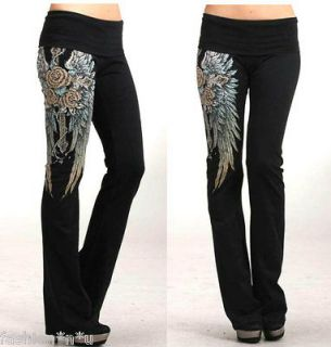 CRYSTAL CROSS ROSE ANGEL WINGS TATTOO YOGA PANTS LEGGINGS & ED HARDY