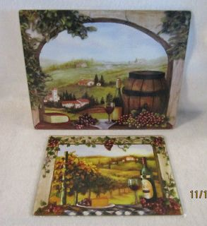 Piece Wine Vineyard Glass Cutting Board Set