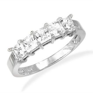 14K White Gold 5 Stones CZ Wedding Anniversary Band