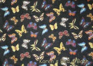 Butterfly Butterflies on Black Sparkle Glitter Curtain Valance
