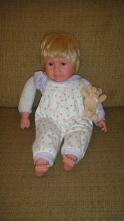 15 Kingstate Blonde Baby Doll w/ Teddy Bear Floral Outfit Stuffed