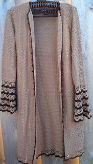 Womens long cardigan tunic sweater brown acrylic size medium M (w77)