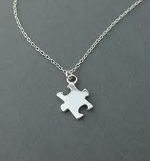 STERLING SILVER AUTISM AWARENESS NECKLACE PUZZLE PIECE CHARM AUTISM