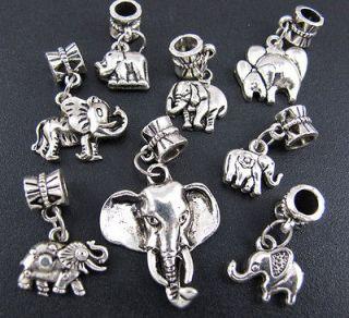 Mix Tibetan Silver Elephant Dangle Beads Fit Charm Bracelet ★fm99