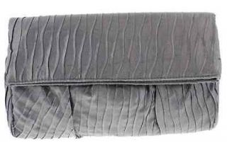 Style & Co. NEW Tabitha Silver Glitter Satin Fold Over Clutch Handbag