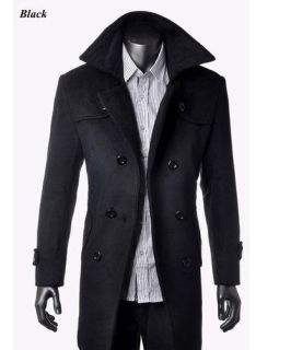 2012 Mens Wool Coat Winter Trench Coat Overcoat Long Jacket Black