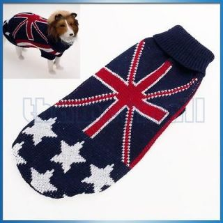 Dog Pet Turtleneck Sweater Pullover Knit Clothes w/ UK Flag Union Jack
