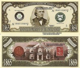 17th President Andrew Johnson Million Dollar Bills x 4 United States