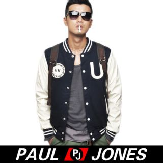 PAUL JONES Mens Casual Baseball Jacket Buttons Coat Sportswear