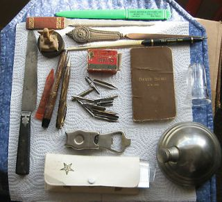 Junk Drawer Lot , letter openers, Lionel Oil.,Fountain pen & Nibs,and