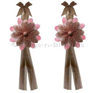 DAISY curtain TWO TONE flower BROWN PINK TIEBACKS tieback nursery 2