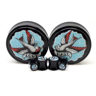 Sparrow Love Hate Ear Plugs Ear Gauges Custom Tattoo Design ~ One Pair