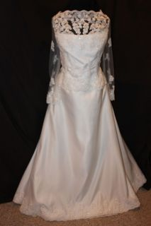 NWT Size 20 WHITE eastern star formal gown, Long sleeved bridal gown