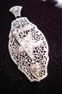 Eastern Star Vintage Custom Diamond14k White Gold Filigree Pendant