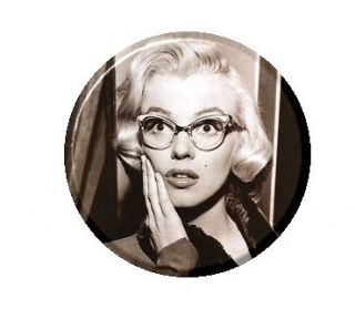 Cute Marilyn Monroe w/ Glasses Pendant Mirror Button Magnet Bottle