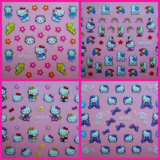 HELLO KITTY 3D NAIL ART STICKERS ONLY 99P 23 DESIGNS IDEAL STOCKING