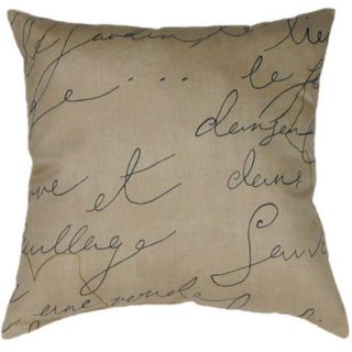 Parchment French Writing Decorative Throw Pillow   Lumbar or Square