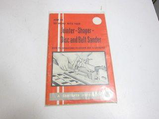 VINTAGE CRAFTSMAN HANDBOOK ON JOINTER SHAPER DISC AND BELT SANDER 1969