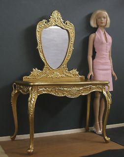 VANITY TABLE & MIRROR ~ 14 scale ~ 2 TONE GOLD ~ Bespaq ~ for