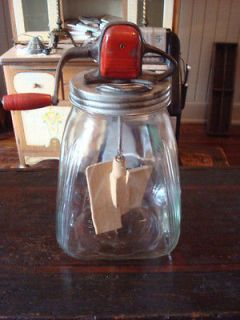 Vintage Standard Churn Co 8 Gallon Glass Jar Butter Churn Maple Paddle