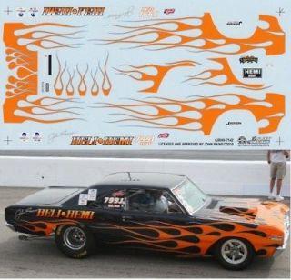 John Rains 68 Dodge Dart Heli Hemi NHRA Drag Decals