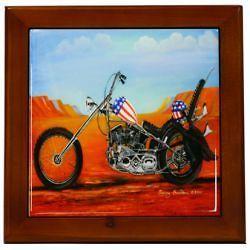 Harley Davidson Easyrider Chopper Decorative Framed Tile 7.5 x 7.5