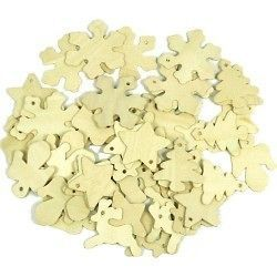 SET OF 50 MIXED WOODEN CHRISTMAS TREE DECORATION SHAPES TO PAINT