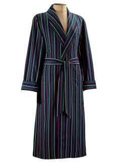 Derek Rose Men's Regimental  1 Classic Dressing Gown   ASH Green