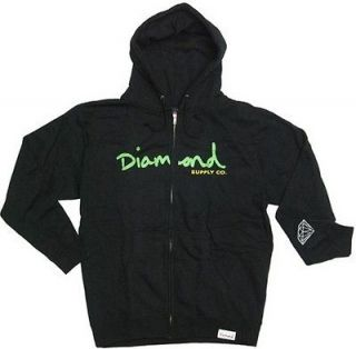 DIAMOND Supply Co. OG Script Zip Hoodie Black Mens Premium Sweatshirt