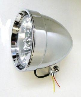 BILLET CHROME SMOOTH BEZEL TRI BAR 5 3/4 HEADLIGHT LAMP 6 3/4 LONG