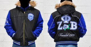 Zeta Phi Beta Blue Long Sleeve Hoddie jacket coat Z PHI B black jacket